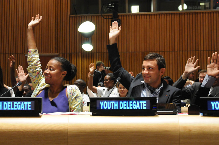 Youth delegates during Malala Day at the UN.