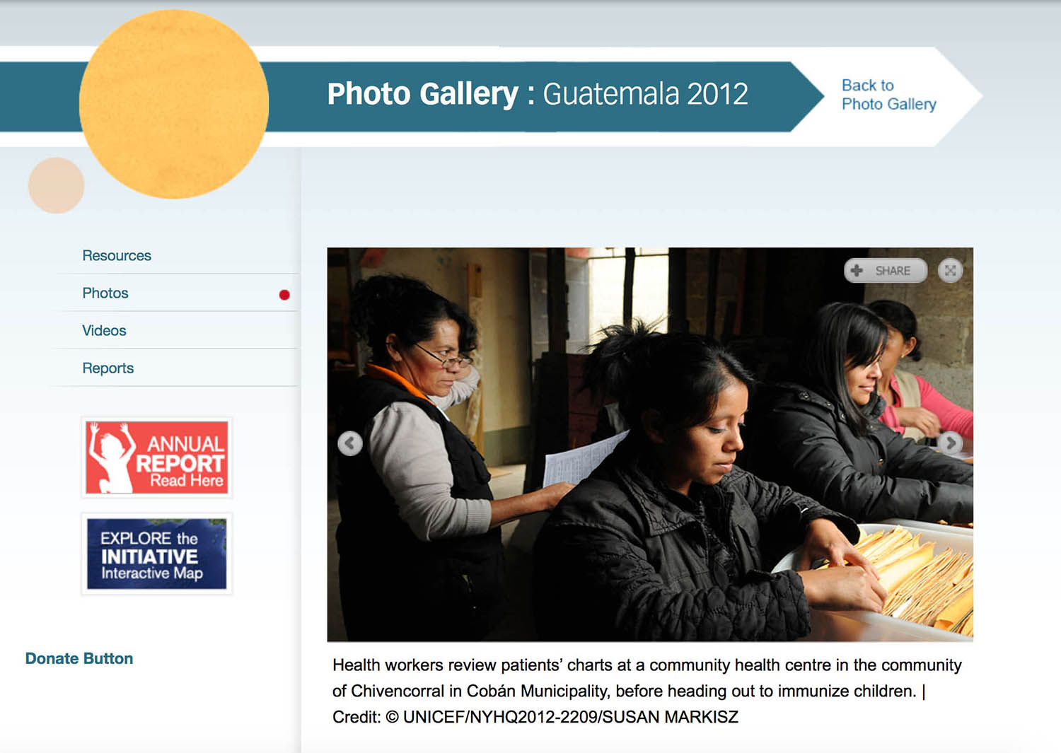 Screen capture of Guatemala photo gallery of women health volunteers.