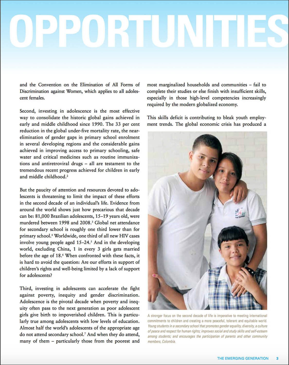 Screen capture of a page from a report showing 2 adolescent girls and an adolescent boy in Colombia.