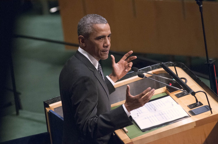 Close-up photo of US President Barack Obama gesturing at the podium during a speech at the UN.