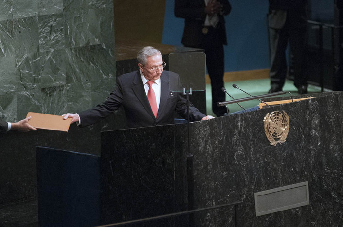 Cuban President Raul Castro speaks at the United Nations General Assembly podium.